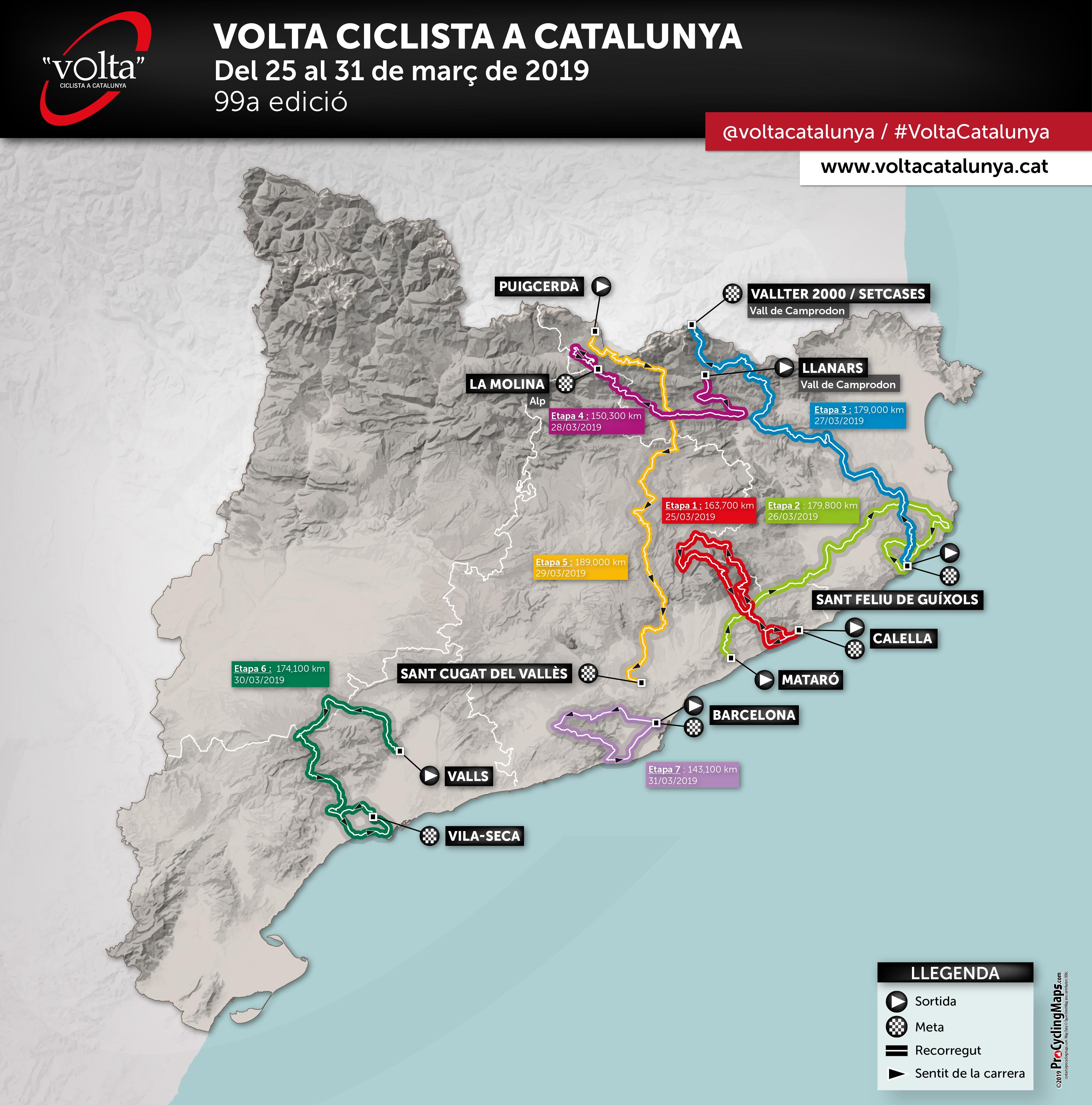 Volta a Catalunya 2019 - Mapa general
